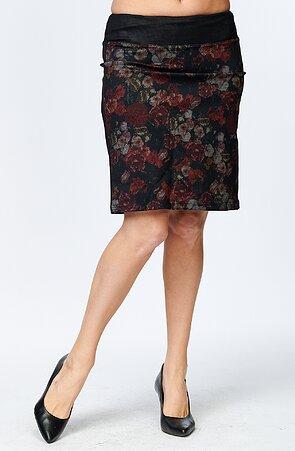 Květinová dámská sukně s rozparkem 181