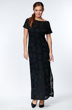 Dlouhé krajkové černé dámské šaty s rozparkem 7177