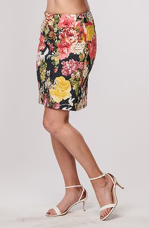 Delší květovaná barevná dámská sukně s rozparkem 815