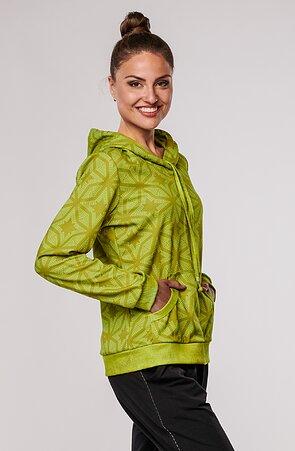 Nepropínací zelená dámská mikina s kapucí a kapsou 672