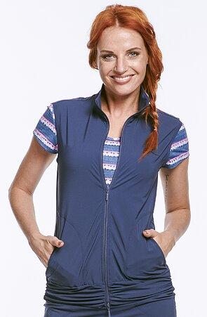 Funkční modrá dámská vesta s řasením 697 sil