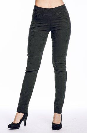 Černé vzorované elegantní dlouhé dámské kalhoty 347