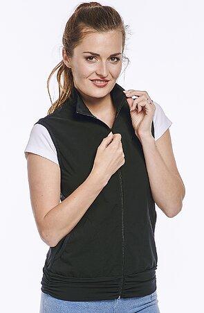 Funkční černá dámská vesta s řasením 697 sil