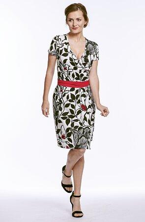 Bíločerné dámské šaty s květy a přeložením 7003