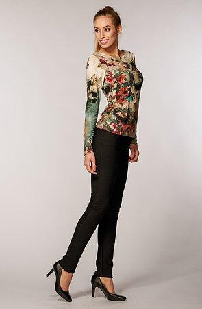 Černé tečkované elegantní dlouhé dámské kalhoty 347