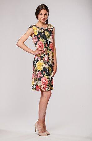 Elegantní barevné květované dámské šaty 7099