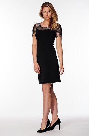 Černé dámské šaty s barevnou krajkou 7015