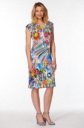 Elegantní květinové dámské šaty se spadenými rukávy 7117