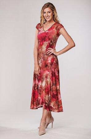 Dlouhé volnější červené květované dámské šaty 7076