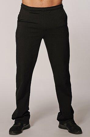 Užší bavlněné černé pánské kalhoty s potiskem a kapsami 425