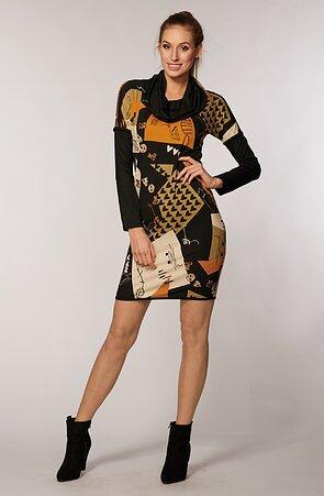 Vzorované černé dámské šaty s rolákem 7173