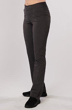 Letní melírované šedé dámské kalhoty s úzkými nohavicemi 377