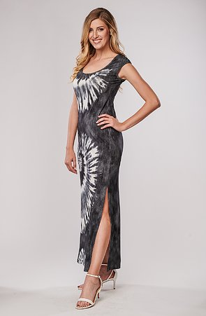 Batikované šedé dlouhé dámské šaty s rozparkem 7029