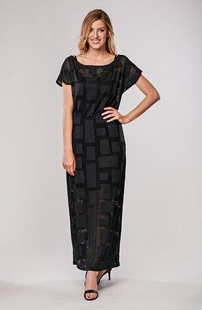 Dlouhé kimonové krajkové černé dámské šaty 7080