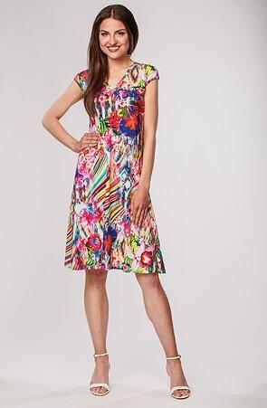 Letní volnější červené květované dámské šaty 7108