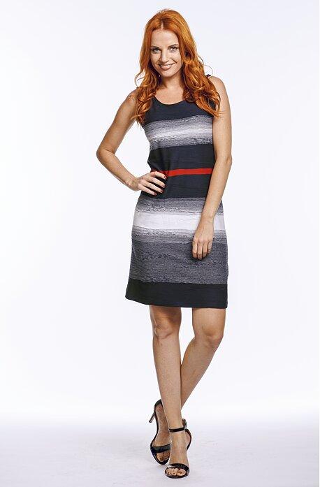 Modrobílé dámské šaty s červeným pruhem bez rukávů 7064