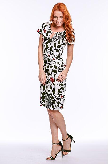Elegantní bíločerné dámské šaty s květy 7025