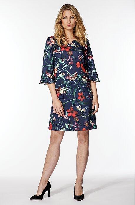 Elegantní volnější modré dámské šaty s květy 7051