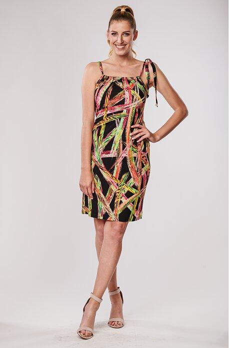 Černé dámské šaty s barevnými pruhy na ramínka 7191