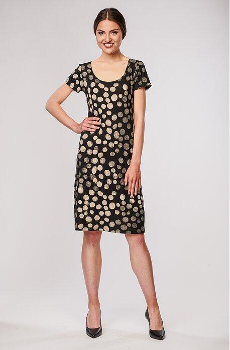Černé dámské šaty s béžovými puntíky 7032