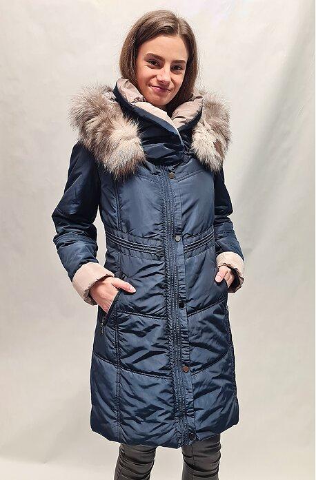 Prodloužená modrá zimní bunda s kožešinou Rafaela